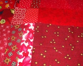 30 6 Inch Quilt Squares Assorted RED Prints