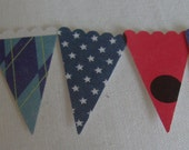 50 DieCut Paper MIni Buntings - Red, White and Blue