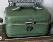 UPCYCLED Sage Green VINTAGE Train Case with Black Rotary Dial Phone Dial OLD SCHOOL