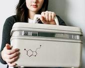 UPCYCLED Off White VINTAGE Train Case with Molecular Love LUGGAGE Serotonin