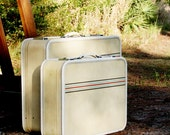 VINTAGE Cream SUITCASE Set with Red Aqua and Black Stripes Luggage Amelia Earhart