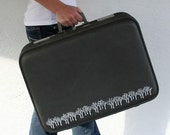 UPCYCLED Gray Metallic VINTAGE Suitcase with White Forest of Trees and Leaf Luggage