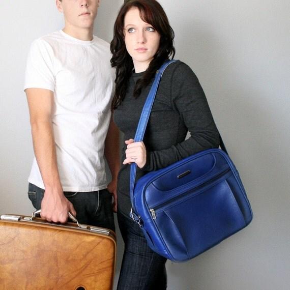 VINTAGE Cobalt Blue PICK YOUR POISON Messenger Bag by Samsonite Luggage