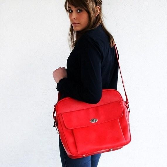 VINTAGE Cherry Strawberry Red Messenger Luggage Bag
