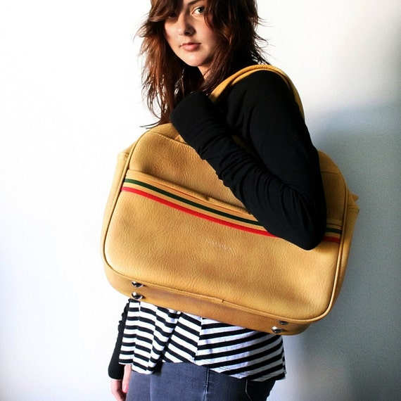 VINTAGE Mustard Yellow Tote bag with Yellow Red and Olive Green Stripes LUGGAGE Carry On