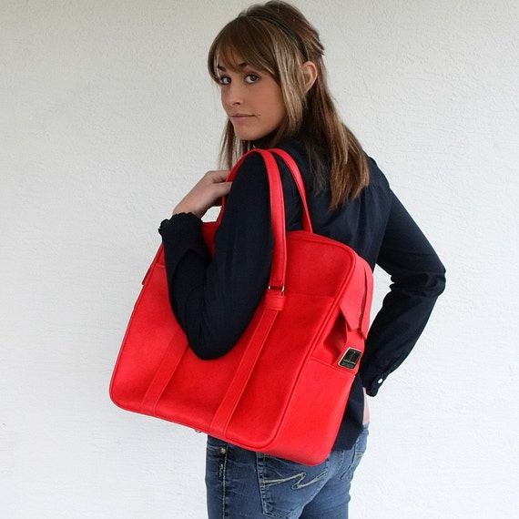 VINTAGE Cherry Red TOTE Bag Luggage Pick Your Poison