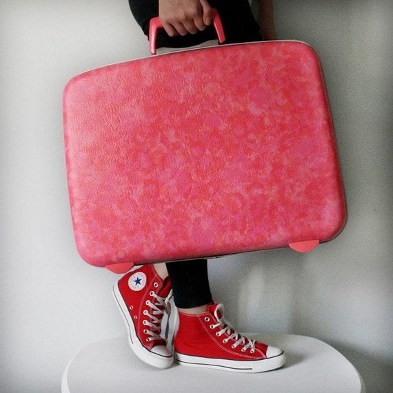 Samsonite Suitcase VINTAGE Hot Pink Orange Mottled Luggage Pick Your Poison