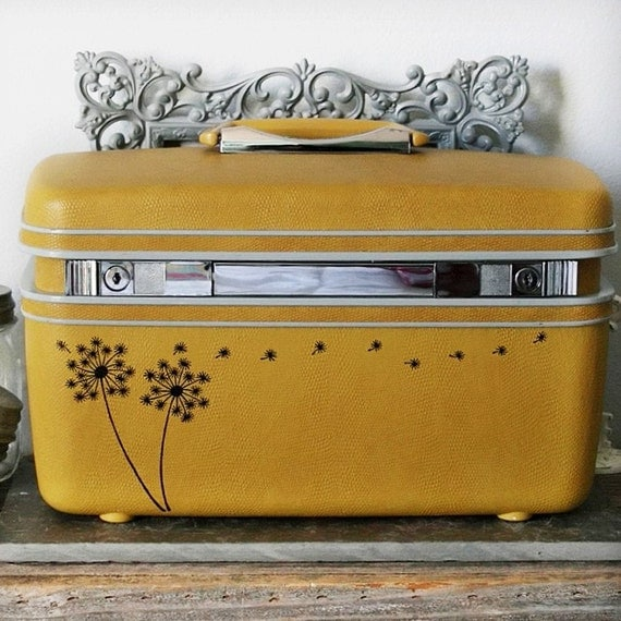 UPCYCLED Mustard Yellow VINTAGE Train Case with Dandelions and Seedlings LUGGAGE
