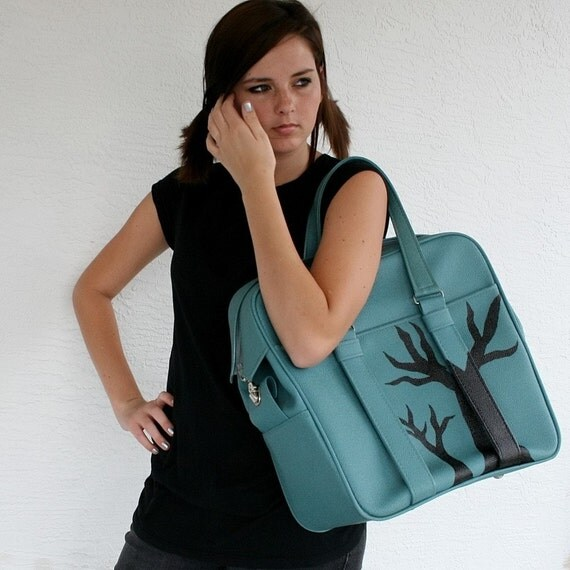 UPCYCLED Blue Green VINTAGE Carry On Tote Luggage Bag with 2 Black Trees