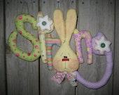 Primitive Hand crafted Hanging Easter Bunny Rabbit Spring Sign