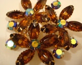 Amber and Rhinestone Pin