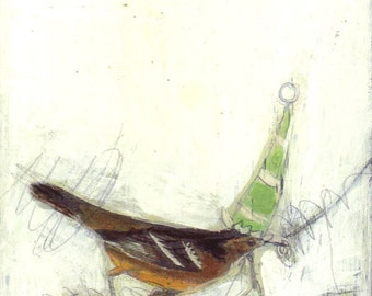 Bird Painting Collage - 41 Green Party Hat