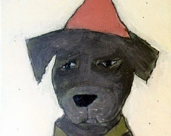 Dog with Pink Party Hat 2 - Painting Collage