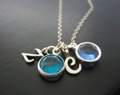 Mothers/Grandmothers Sterling Silver Initial and Swarovski Birthstone Necklace