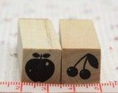 Japanese kawaii wooden rubber stamp (apple cherry)