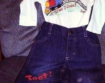 Train Shirt and Jeans Set, Baby Boy Clothes, Toddler Train Jeans Set, Train Shirt and Jeans
