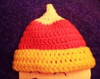 Candy Corn Baby Hat, Novelty Crocheted Hat, Halloween Baby Hat