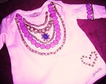 Baby Bling Bodysuit, Baby Girl Clothes, Necklace Bodysuit, Bling Glitz and Sparkle, Baby Jewelry Bodysuit, Baby Girl One Piece