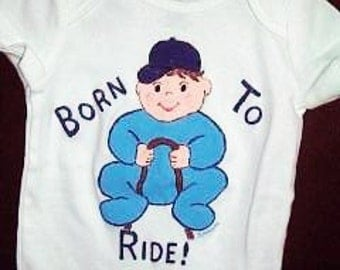 Horse Baby Bodysuit, Born To Ride, Horse Show, Baby Horse Rider, Little Equestrian,  Baby One Piece