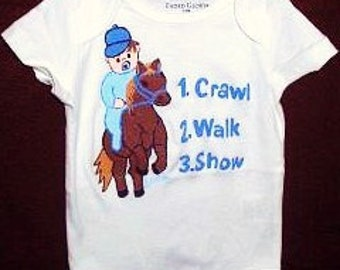Horse Baby Bodysuit, Crawl Walk Show, Baby horse Rider, Little Equestrian Baby One Piece