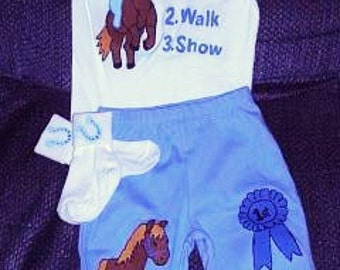 Little Equestrian Bodysuit and Pants Infant Gift Set, Horse Set, Horseback Rider Baby Gift Set