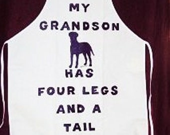 My Doggie Grandson Apron, Dog Apron, can be customized