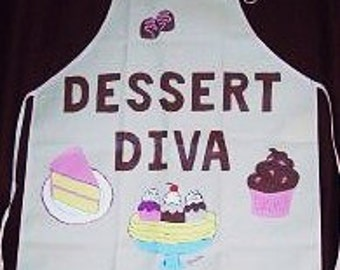 Dessert Diva Apron, Hostess Apron, Cotton Cooking Apron, Handpainted Apron
