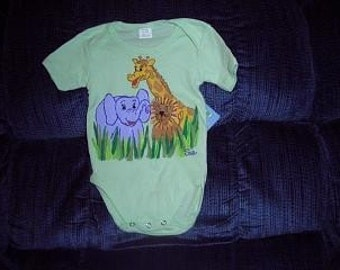 Jungle Pals Baby Bodysuit, Jungle Animals Bodysuit, Baby Clothing, Giraffe Baby, Elephant Baby