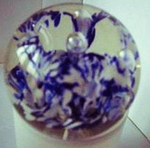 Vintage Glass Paperweight Joe Zimmerman Blue And By Splashin