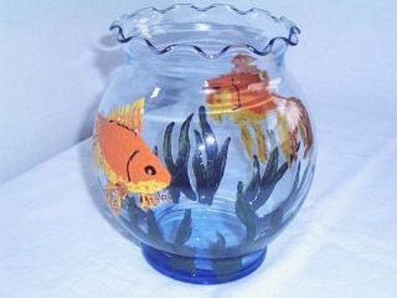 Painted fish bowl glass vase blue glass handpainted for Painted glass fish