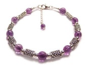 Amethyst and Celtic knot work Sterling silver bracelet - purple gemstone, gem stone