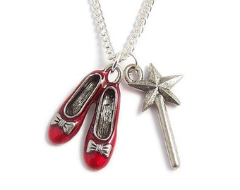 RUBY Red Slippers and the Good Witch's magical wand Wizard of Oz necklace