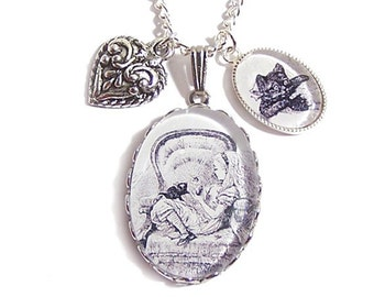 Alice in Wonderland necklace Alice with Dinah through the looking glass