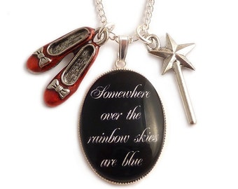 Wizard of Oz necklace Ruby red slippers and wand charms Somewhere over the rainbow