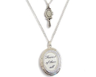 Snow white charm necklace .. FAIREST of them all inspired mirror locket