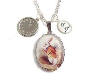 Alice in Wonderland necklace The Late RABBIT clock charm pendant