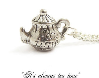 Alice in Wonderland necklace ..It's always TEA TIME Darling little teapot Mad Hatter's teaparty charm necklace