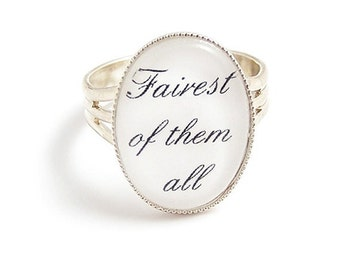 Snow White ring Fairest of them all ring, adjustable fairy tale fairytale ring