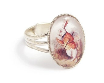 Alice in Wonderland ring The Late Rabbit adjustable ring