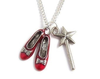 Wizard of Oz necklace RUBY Red Slippers and the Good Witch's magical wand