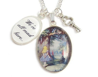 We're all mad here necklace CHESHIRE CAT and Alice in wonderland