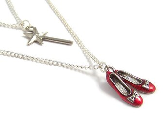 DOUBLE Wizard of Oz necklace RUBY Red Slippers and the Good Witch's magical wand
