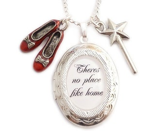 Wizard of Oz charm locket necklace Theres no place like Home Ruby red shoes and wand