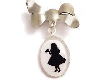 Alice in Wonderland brooch cameo with bow pin silhouette - gothic elegance