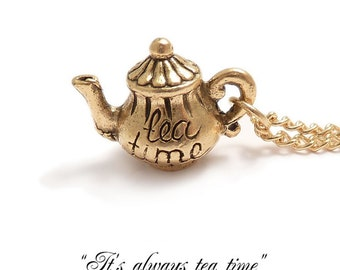 Teapot necklace Tea pot necklace - Alice in wonderland necklace It's always TEA TIME Mad Hatter's teaparty