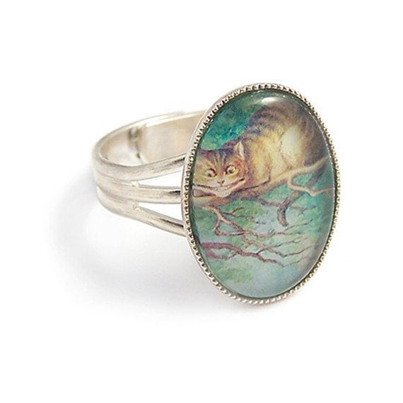 Alice in Wonderland ring Cheshire cat We're All Mad Here adjustable