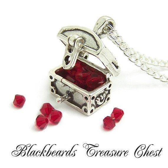 Sterling silver Pirate necklace Blackbeards lost Treasure Chest necklace 3D opens