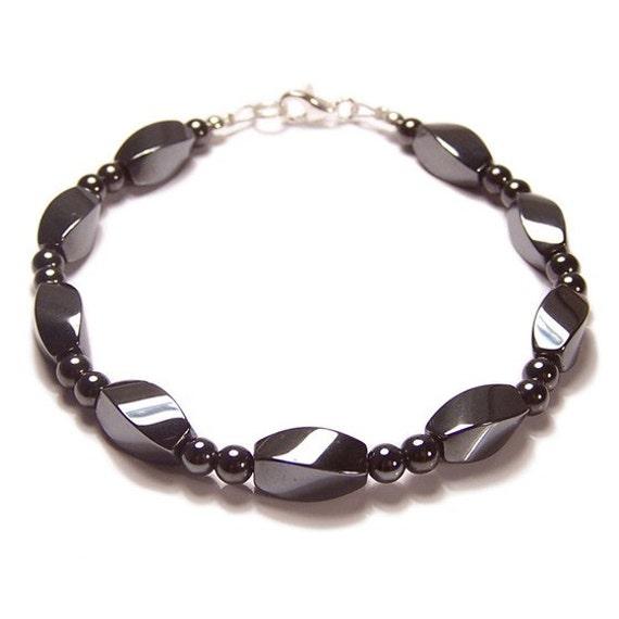 Hematite Sterling silver bracelet Unisex Twist design magnetic