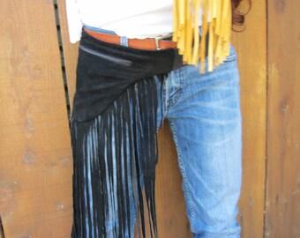 Made to order Suede or leather Fringe  Hip Bag