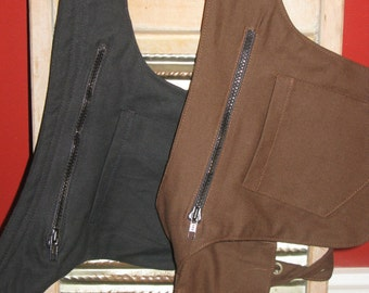Black or Brown Canvas Hip Bags